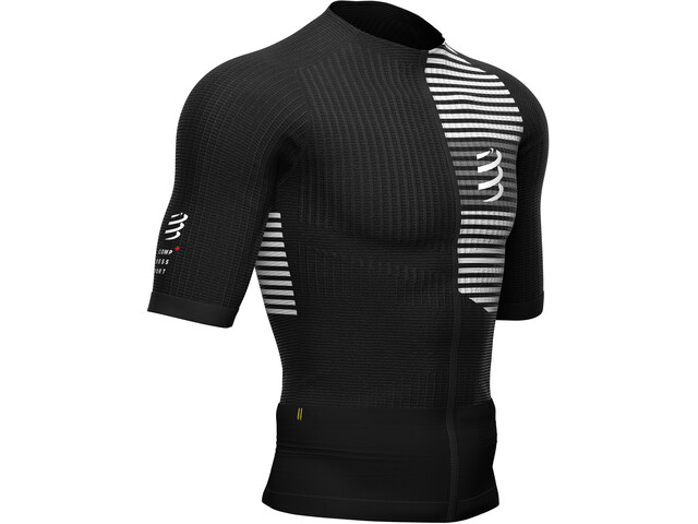 Compressport Triathlon Postural Kurzarm Zip Top Herren black/white